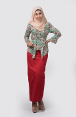 Zetta Modern Kebaya Floral Printed with Ribbon Belt