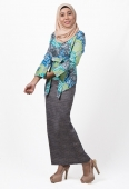Adorra Modern Kebaya Abstract Printed with Ribbon Belt