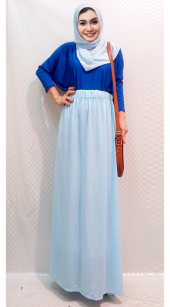 2 Pieces Basic Tunic Looses Top with Chiffon Long Skirt (Including Plain Shawl)