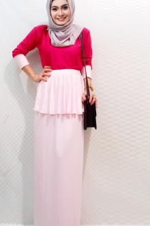 2 Pieces Round Neck Top with Peplum Skirt (Including Shawl)