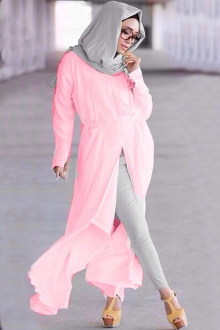 2 Pieces Slit Design Long Top with Pants (Including Shawl)