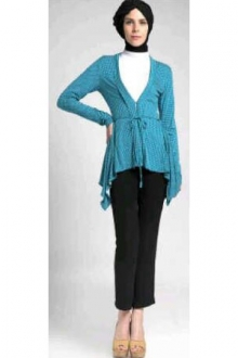 3 Pieces Polka Dots Waist String Cardigan + Turtle Neck Inner Top with Pants (Including Shawl)