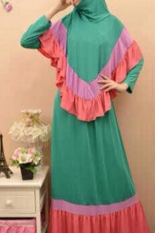 3 Tones Ruffles Design Shawl Jubah Dress