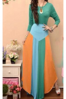 2 Pieces Trendy Mix Color Top with Skirt