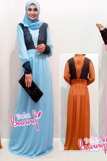 Turtle Neck Lace Design Jubah Dress