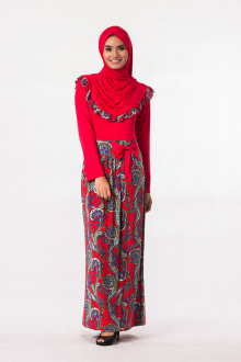 2 Pieces Joint Batik Design Jubah Dress with Ribbon (Including Shawl)