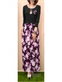 2 Pieces Basic Top with Floral Design Skirt