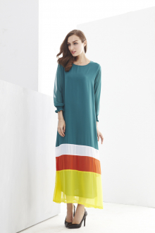 Mix Color Tunic Jubah Dress