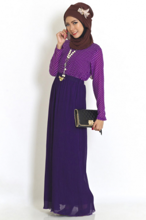 2 Pieces Joint Polka Dots Design Pleated Jubah Dress (Including Shawl)