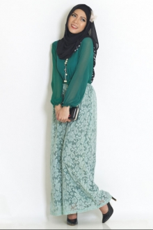 2 Pieces Joint Lace Design Jubah Dress (Including Shawl and Ribbon Belt)