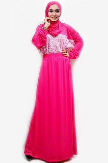 2 Pieces Lace Design Batwing Top with Long Skirt (Including Shawl)