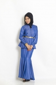 2 Pieces High Neck Pepelum Top with Mermaid Style Skirt (Without Shawl)