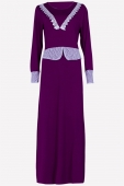 2 Pieces Joint Lace Design Jubah Dress (Including Shawl)