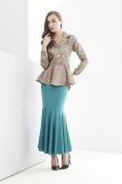 2 Pieces Double Row Button Peplum Top with Mermaid Style Skirt