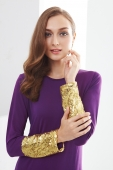 Round Neck Sequin Design Jubah Dress