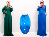 Half Button Jubah Dress with Pockets (Including Shawl)