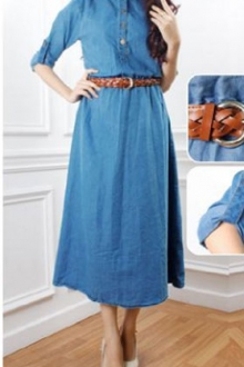 Half Button Denim Jubah Dress (Including Belt)