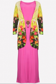 2 Pieces Floral Design Long Cardigan with Batwing Jubah Dress (Including Shawl)