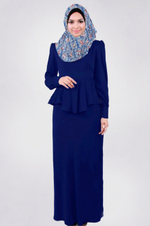 2 Pieces Joint Peplum Jubah Dress (Including Shawl)