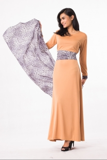 Leopard Design Jubah Dress (Including Shawl)