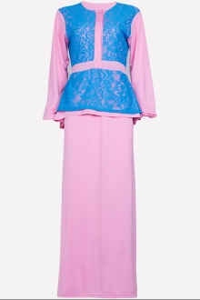 Half Button Lace Design Jubah Dress (Including Shawl)