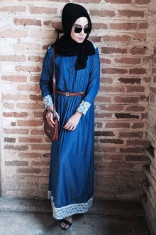 Half Button Lace Design Jubah Dress (Including Belt)