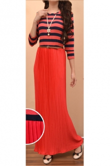 One Piece Stripe Top with Pleated Dress (Including Belt)