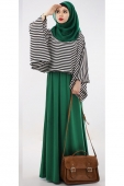 2 Pieces Stripes Design Batwing Top with Basic Dress (Including Shawl)