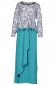 2 Pieces Joint Floral Printed Peplum Jubah Dress