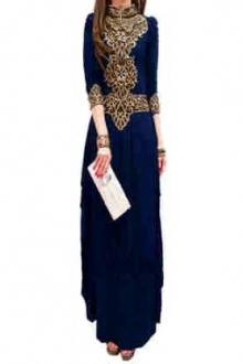 Zaskeyla Turtle Neck Style with Embroidery Details Jubah Dress