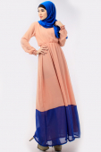 2 Tones Waist String Jubah Dress (Including Shawl)
