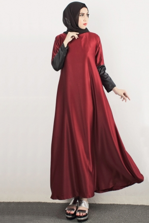 Satin Leather Sleeve Design Modern Jubah Dress (Including Shawl)