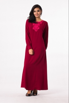 Lace Crochet Round Neck Modern Jubah Dress