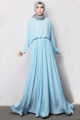 Batwing Sleeve Design WIth Waist String Modern Jubah Dress (Include Shawl)