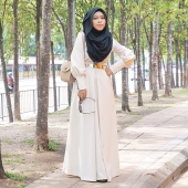 Waisted Dress With Button Cuff (Including Shawl)