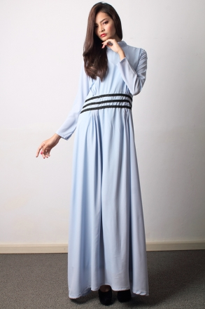 High Neck With Pleated Design Jubah Dress