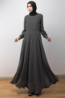 Polka Dots Round Neck Jubah Dress (Including Shawl)