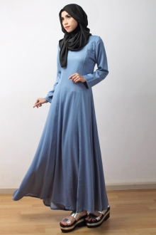 Plain Long Sleeve Denim Dress (Including Shawl)