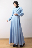 Half Button Ruffles Design Denim Dress (Including Shawl)
