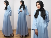Denim Dress With Sides Pleated (Including Shawl)