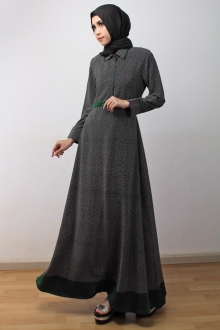 Polka Dot Half Button Collared Jubah Dress (Including Shawl)