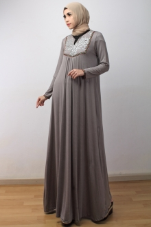 Lace Crochet V Neck Jubah Dress