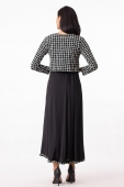 Grid Design Modern Dress With Ribbon