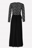 Chevron Printed Dress With Flower