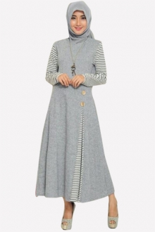 Loessa Classic Side Pleated Dress With Wooden Button