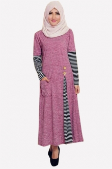Luenni Classic Side Pleated Dress With Half Stripe Sleeve