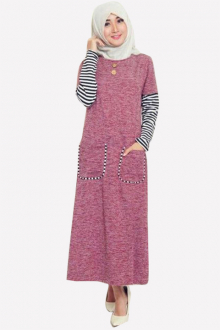 Maura Classic Half Stripe Sleeve Dress With Pockets