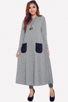 Meddina Classic Long Dress with Pockets