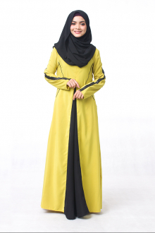 Reyhanna Front Godet Style With Leather Details Jubah Dress