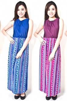 Aztec Print Sleeveless Maxi Dress